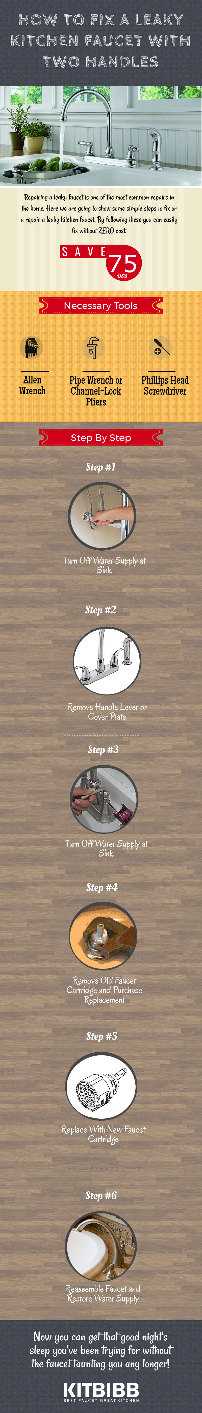 how to fix a leaky kitchen faucet with two handles