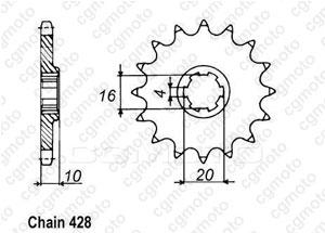 Kit chaîne moto pour HYOSUNG V2 125 CHOPPER 2000