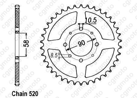 Kit chaîne moto pour HONDA VT 125 C SHADOW JC29 JC31 1999