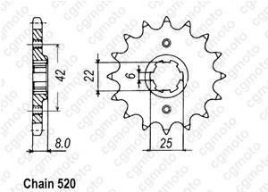 Kit chaîne moto pour HONDA CB 250 RS CD 6VIS MC02 1982