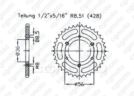 Kit chaîne quad pour POLARIS SCRAMBLER 50 2005