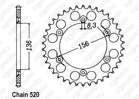 Kit chaîne moto pour HUSQVARNA CR 360 CROSS 1992