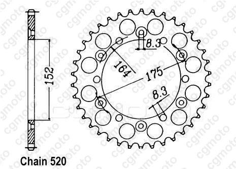 Kit chaîne moto pour YAMAHA YZ 125 5X4 1982