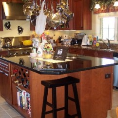 Long Island Kitchen Design Beige Tiles Decorative Pot Racks With Hanging And Pan Rack