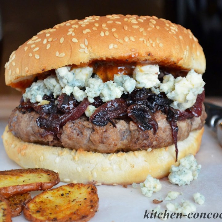 Burgers with Blue Cheese and Red Wine Caramelized Onions