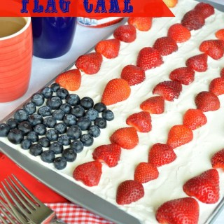 "Patriotic Flag Cake (a.k.a Mixed Berry ""Shortcake"" Sheet Cake)"