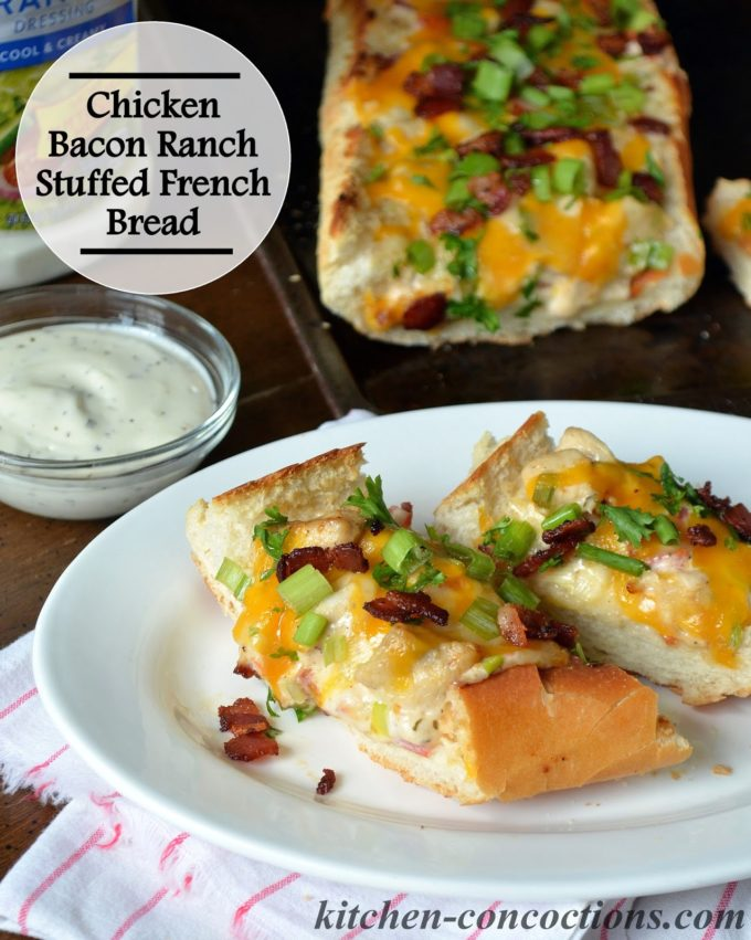 chicken bacon ranch stuffed french bread