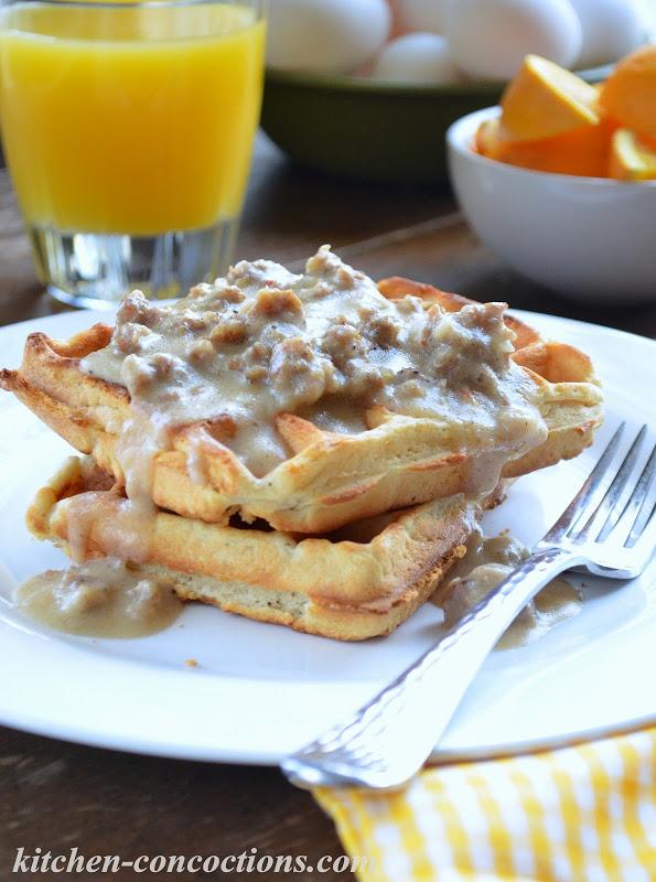 Buttermilk Biscuit Waffles with Creamy Sausage Gravy