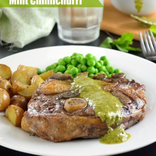 Grilled Lamb Shoulder Chops with Mint Chimichurri