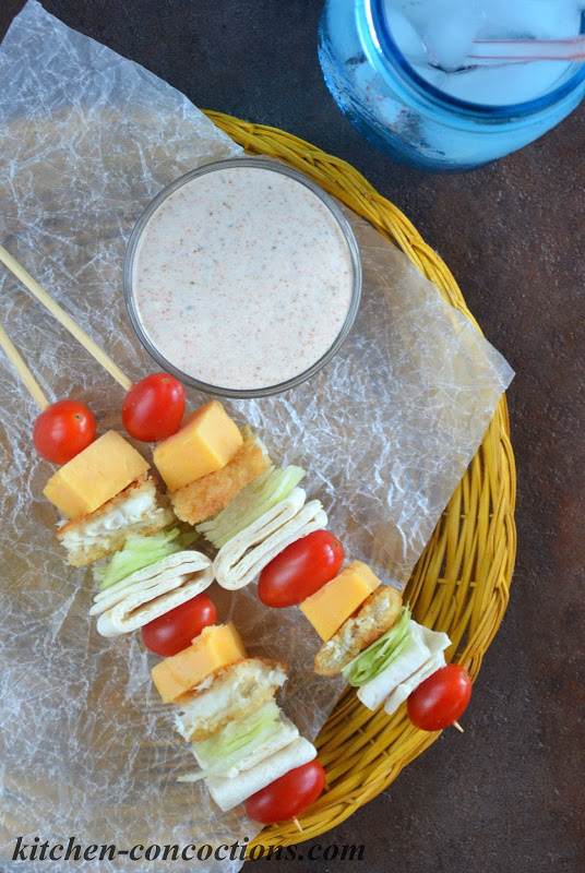 Fish Tacos on a Stick with Taco Ranch Dipping Sauce