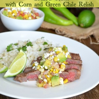 Grilled Steak with Corn and Green Chile Relish