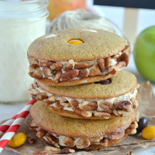 Apple and M&M's® Pecan Pie Sandwich Cookies {Plus DIY Apple Stamped Gift Tags}