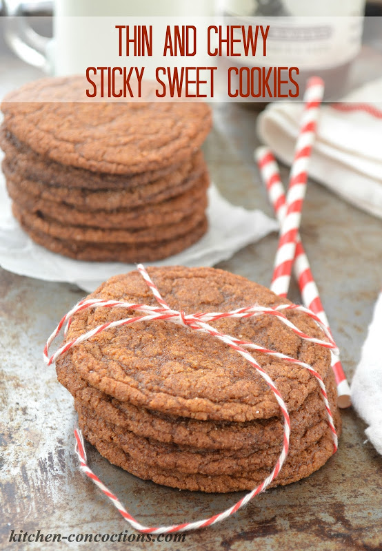 Thin and Chewy Sticky Sweet Cookies
