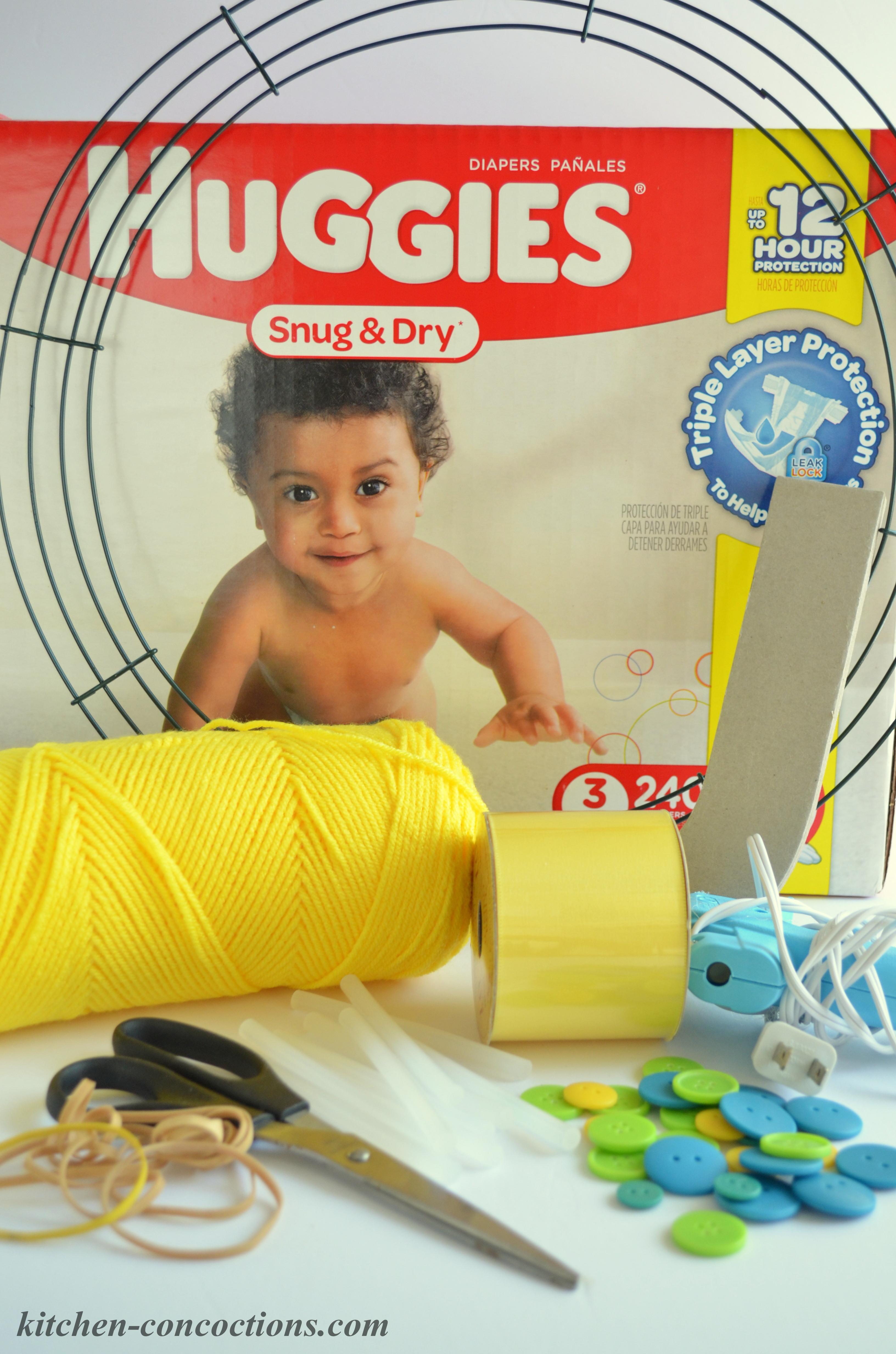 how to make a diaper wreath 1