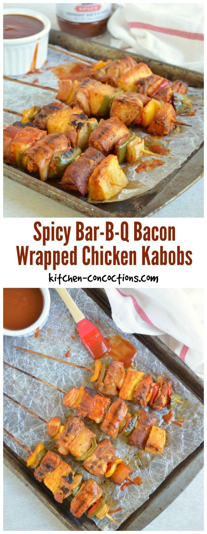 Spicy Bar-B-Q Bacon Wrapped Chicken Kabob Recipe