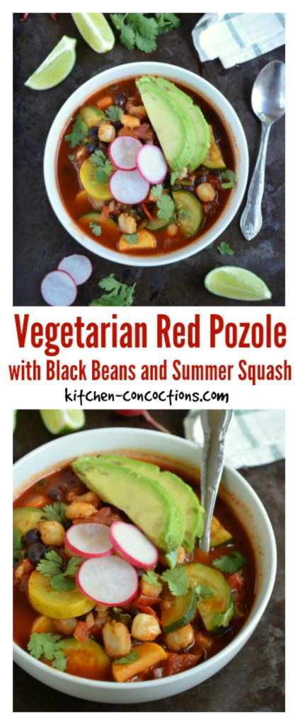 Vegetarian Red Pozole with Black Beans and Summer Squash recipe
