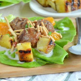 AD: Hawaiian Meatball Lettuce Wraps with Spicy Coconut Milk Dressing