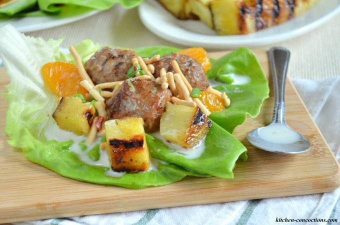 Hawaiian Meatball Lettuce Wraps with Spicy Coconut Milk Dressing