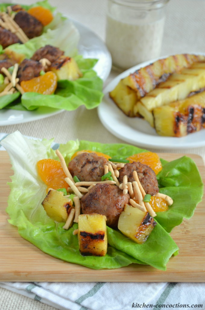 Hawaiian Meatball Lettuce Wraps with Spicy Coconut Milk Dressing 5