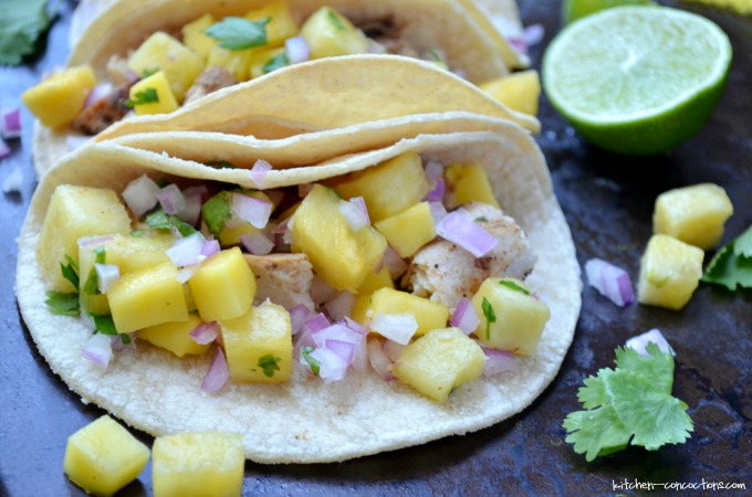 Mahi Mahi Tacos with Pineapple Mango Salsa
