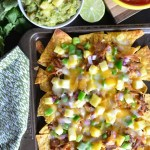 Hawaiian Pulled Pork Nachos with Pineapple Mango Guacamole