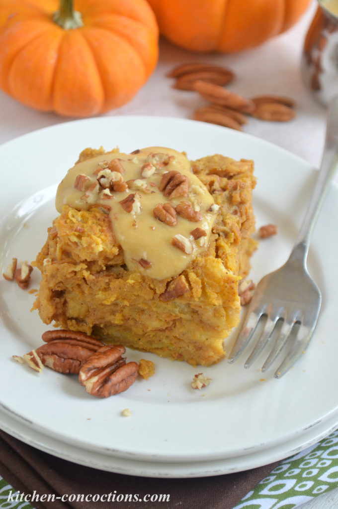 Pumpkin Bread Pudding with Pumpkin Creme Anglaise