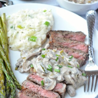 New York Strip Steak with Creamy Mushroom Leek Sauce {Plus Wheatsville Co-op Gift Card Giveaway!}