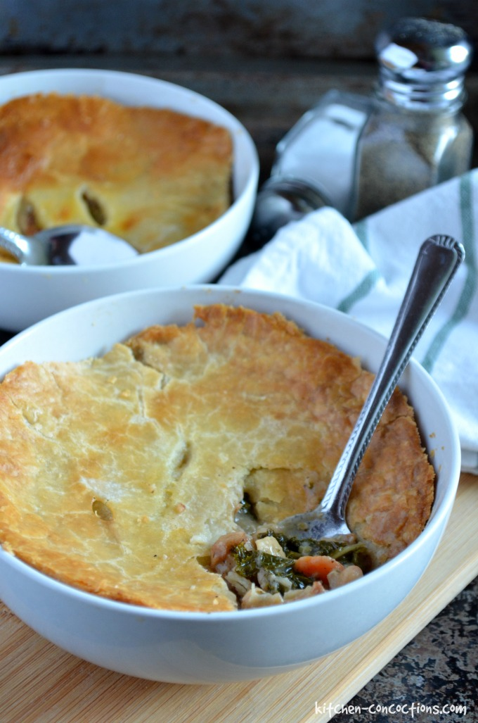bacon, white bean and kale pot pies