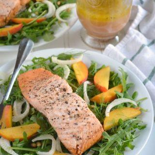 Tea Poached Salmon, Peach and Arugula Salad