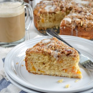 Peaches and Cream Coffee Cake and Easy Three Step Vanilla Latte