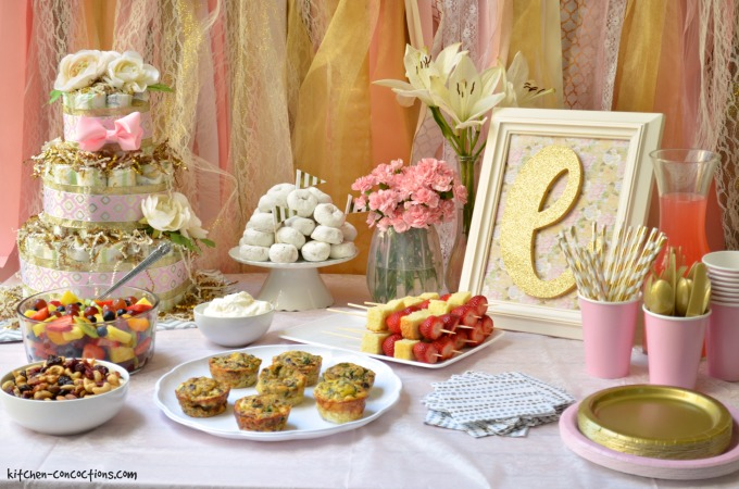 Celebrate A Mom To Be With Pink And Gold Baby Shower Check Out All My Party Tips Menu Ideas Including The Recipe For Strawberry Shortcake Skewers