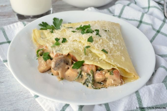 Chicken Florentine Crepes Recipe - Kitchen Concoctions