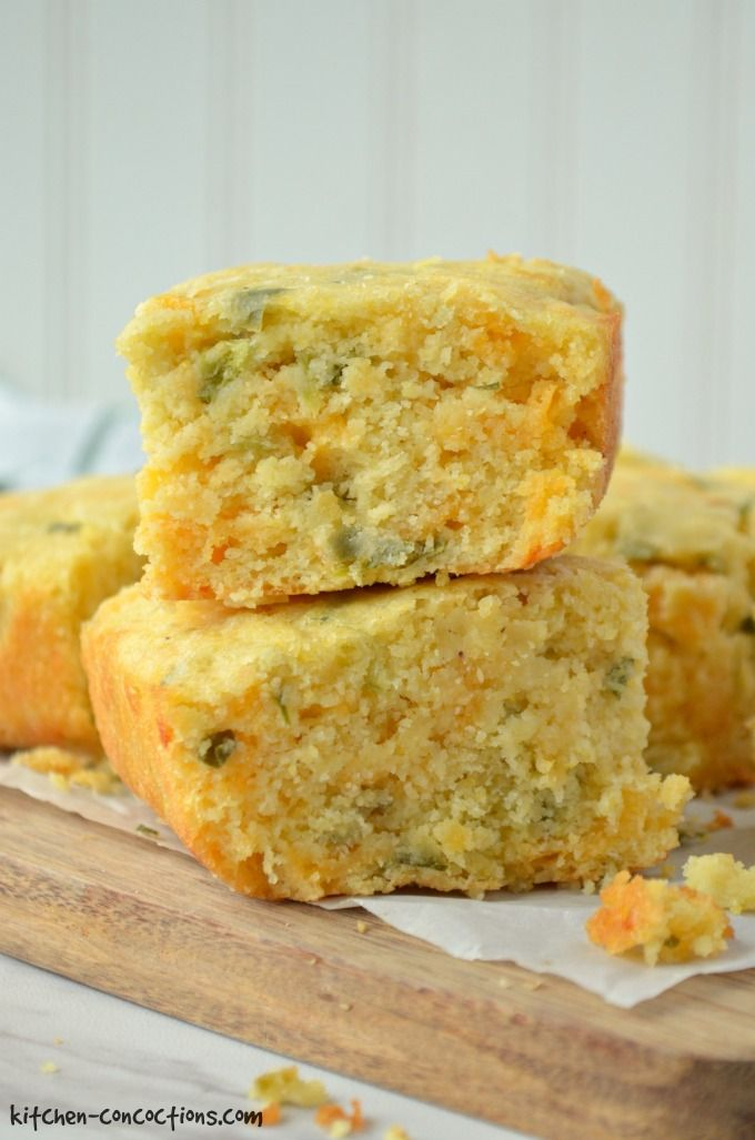 Jalapeno Cheddar Cornbread Recipe - two slices of cornbread stacked on top of each other