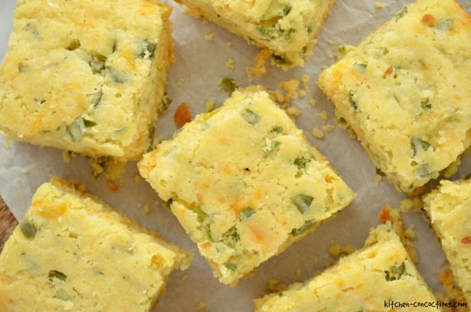 Jalapeno Cheddar Cornbread - cut into squares