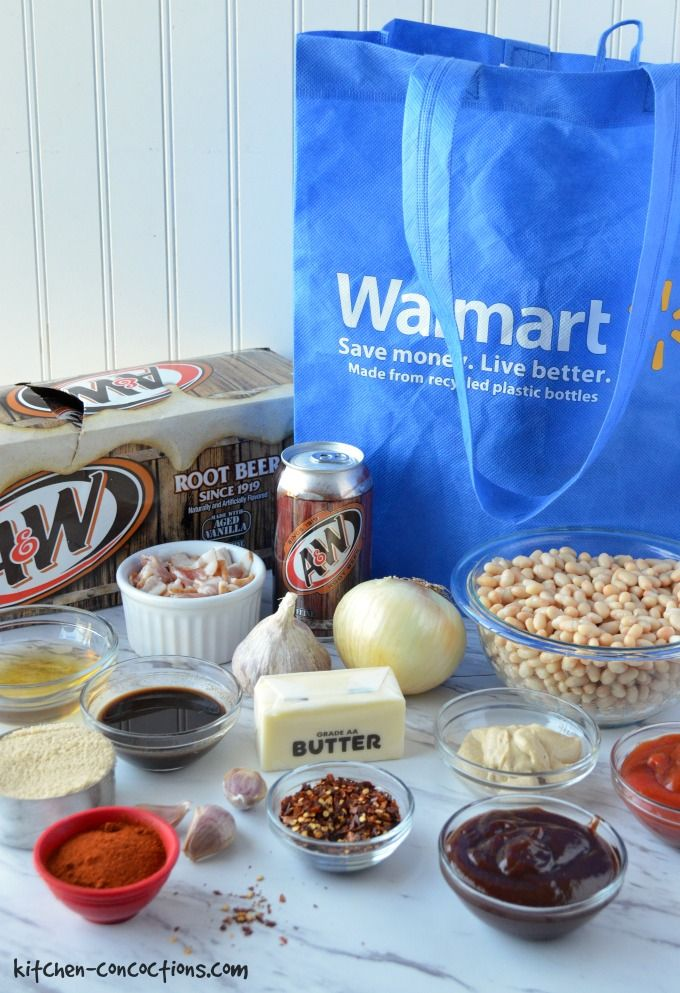 all the ingredients for root beer baked beans and a reusable blue Walmart bag