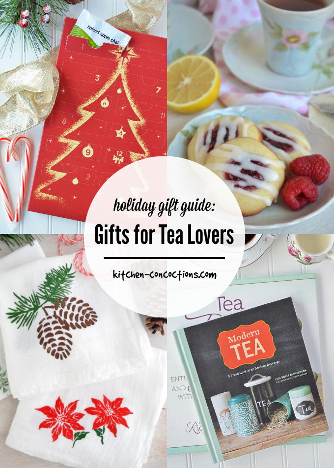 photo collage of Gifts for Tea Lovers featuring a photo of tea cookies, the Modern Tea book, hands stamped holiday tea towels and a tea advent calendar