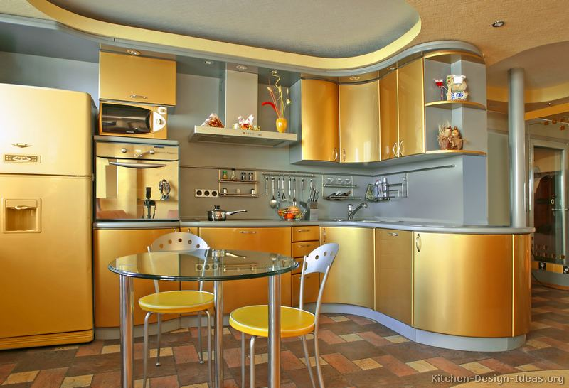 Pictures of Kitchens  Modern  Gold Kitchen Cabinets