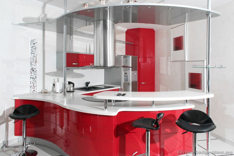 A Modern Take on a Retro Kitchen with Curved Red Cabinets, Chrome Accents, Retro Bar Stools