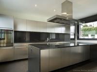 Stainless Steel Kitchen Cabinets with Black Granite ...