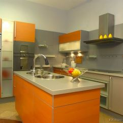 Mid Level Kitchen Cabinets Epoxy Commercial Flooring Pictures Of Modern Orange Kitchens - Design Gallery