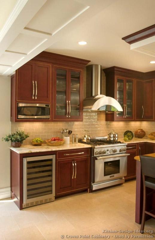 Kitchens Traditional Dark Wood Cherry Color Kitchen