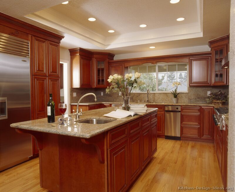 kitchen cabinets traditional medium wood cherry color 001a s8683171 island luxury Tall Kitchen Cupboards