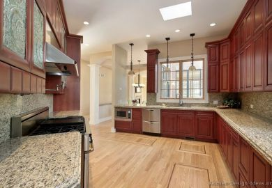 Cherry Wood Color Kitchen Cabinets