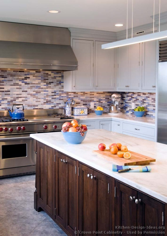 Transitional Kitchen Design with Pale Blue Shaker Style
