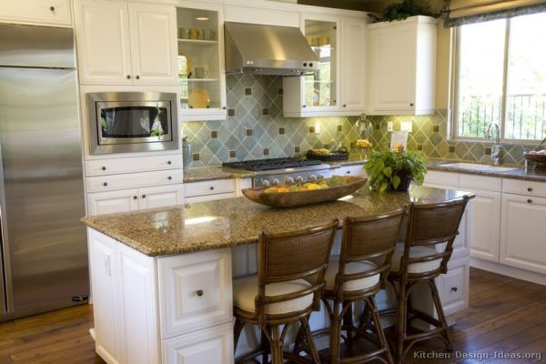 small kitchen with island design ideas Pictures of Kitchens - Traditional - White Kitchen Cabinets (Page 2)