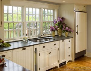 Gray Granite Counters And White Cabinets Traditional