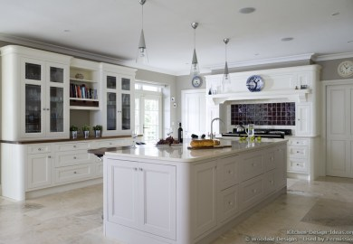 White Kitchen Cabinets And Travertine Floors