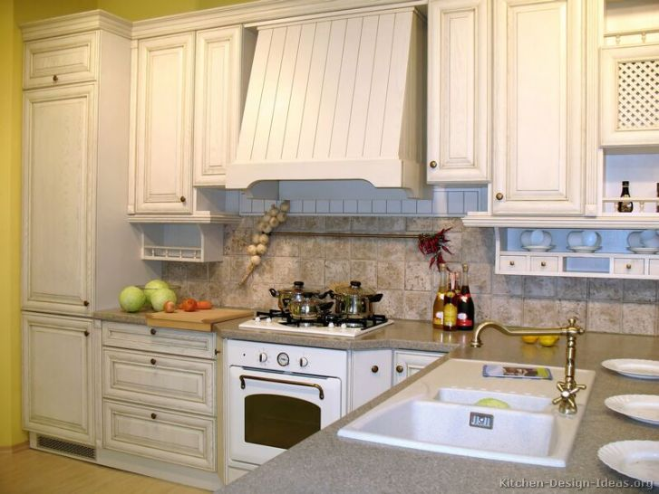 Kitchens Traditional Whitewashed Cabinets