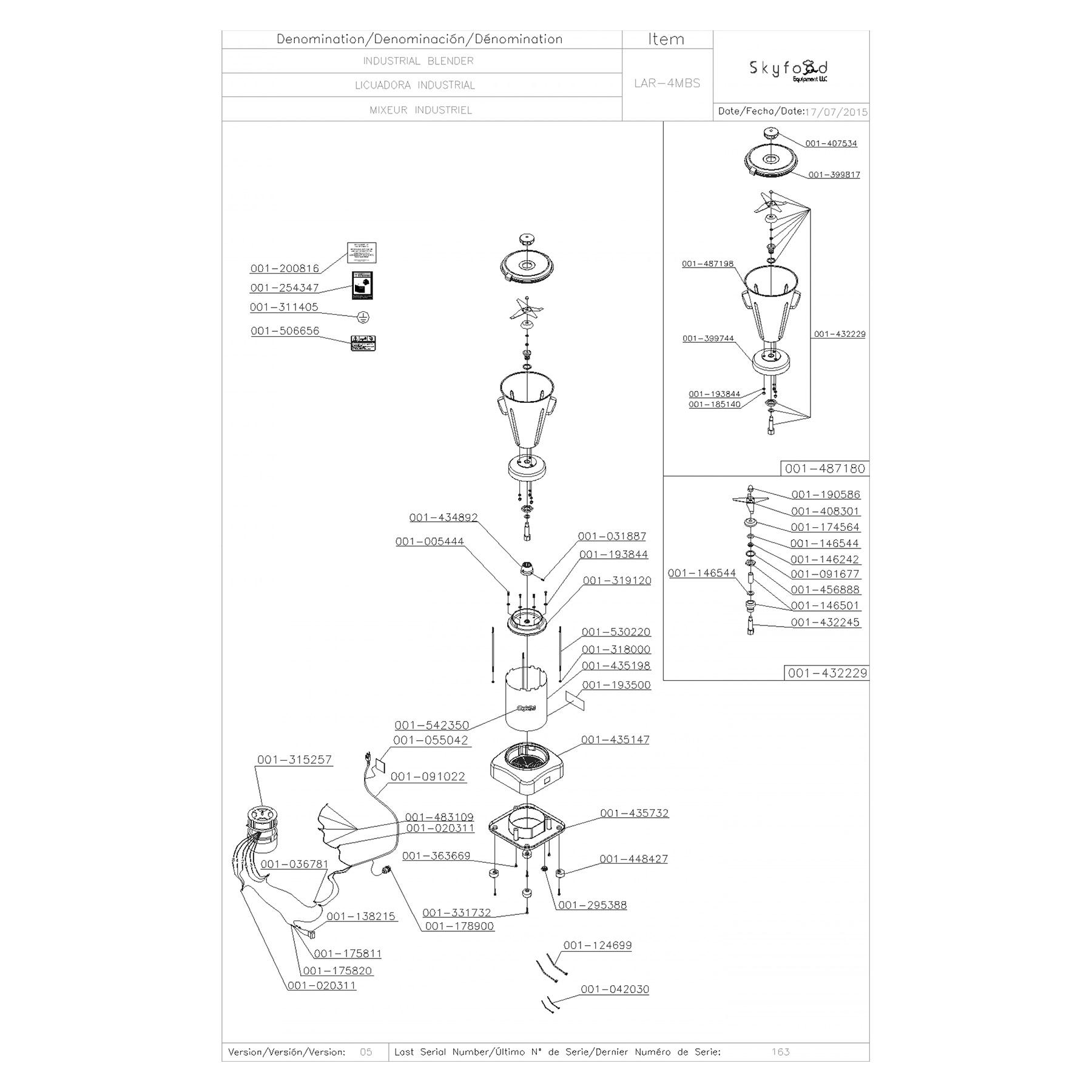 Skyfood LAR-4MBS 1 Gal Food Blender 3,500 RPM 1/2 HP
