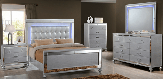 silver solid wood queen bedroom set with led lights